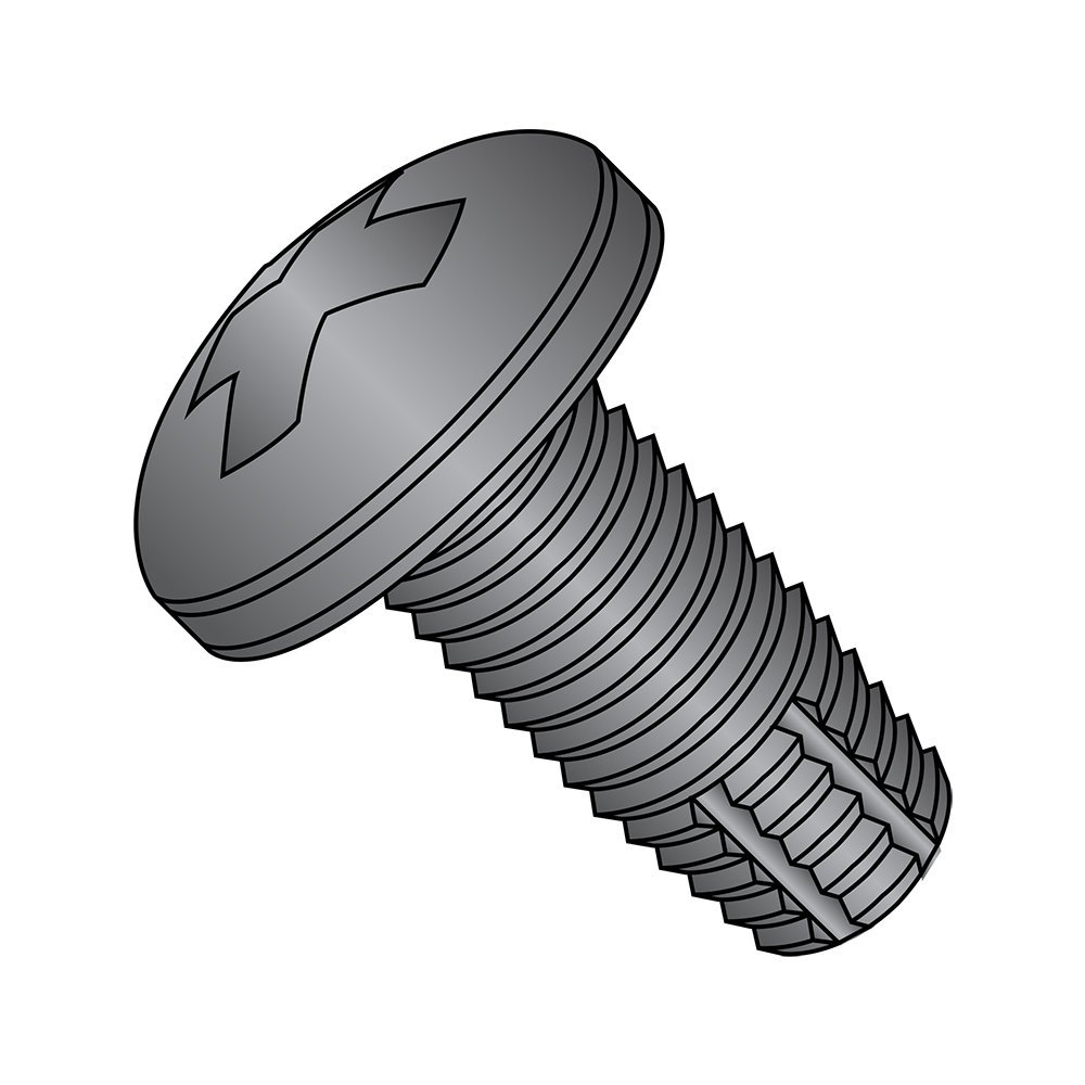 Steel Thread Cutting Screw, Black Oxide Finish, Pan Head, Phillips Drive, Type F, #2-56 Thread Size, 1/8'' Length (Pack of 100)