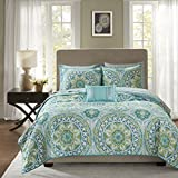 Madison Park Essentials Serenity Twin Size Quilt Bedding Set - Aqua, Medallion – 6 Piece Bedding Quilt Coverlets – Ultra Soft Microfiber Bed Quilts Quilted Coverlet