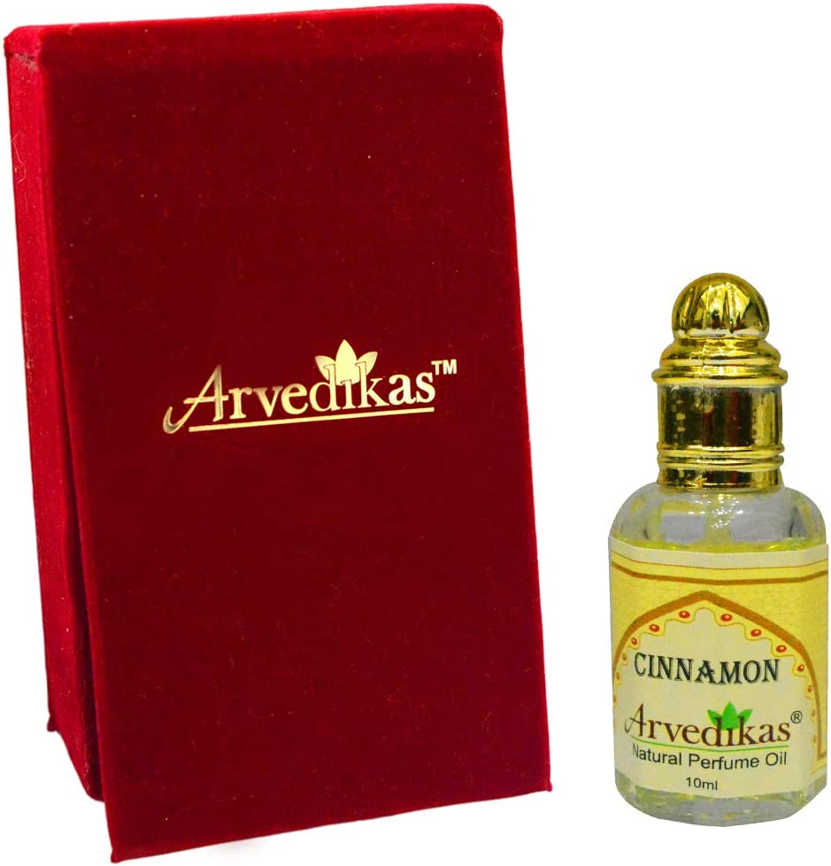 Arvedikas - Alcohol Free Cinnamon Perfume Oil Fragrance Romantic Blends Well Essential Oils Long Lasting for Women Aromatherapy Glass Roll on Bottle with Golden Cap Aromatic Attar/Ittar 10ml