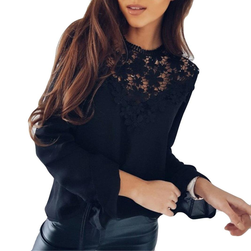 Sothread Women Sexy Floral Lace Splice Chiffon Loose Bell Sleeves Blouse Tops O-Neck Casual T-Shirt (XL, Black)