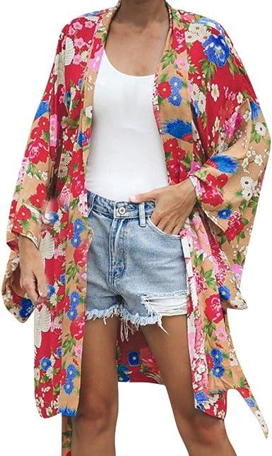Linlink Las Mujeres de Manga Larga Impresa Chal de Beachwear ...