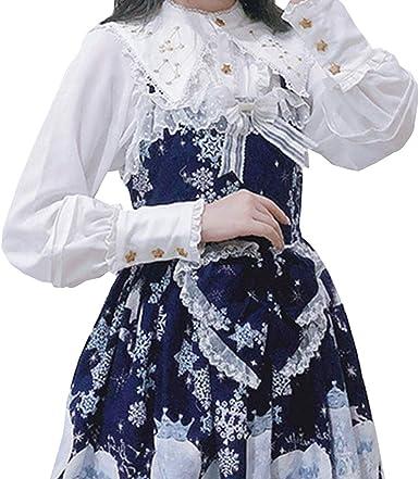 Gasa Lolita Blusa Mujer Victoriana Vintage Bordado de Constelaciones Camisa Manga Larga Collar de Mantón Tops Blanco S-2XL: Amazon.es: Ropa y accesorios