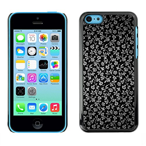 TaiTech / Case Cover Housse Coque étui - Flowers Grey Wallpaper Black Garden - Apple iPhone 5C