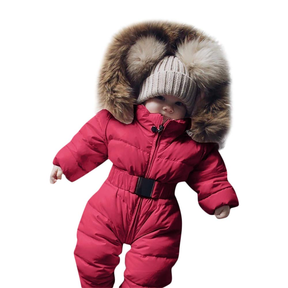 Winter Toddler Baby Boys Girls Romper Jacket Thick Warm Hooded Jumpsuit Zipper Padded Hooded Coat Chic Outfit with Belt for 0-2 Years Old by Vovotrade