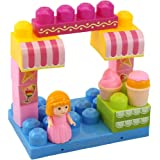 "Dimple ""The Ice Cream Shop"" Block Set, Variety of 15 Building Blocks with Different Shapes & Sizes, Along with Buildable Lid & Girl Figurine, Educational Toy, Great for Kids & Toddlers"