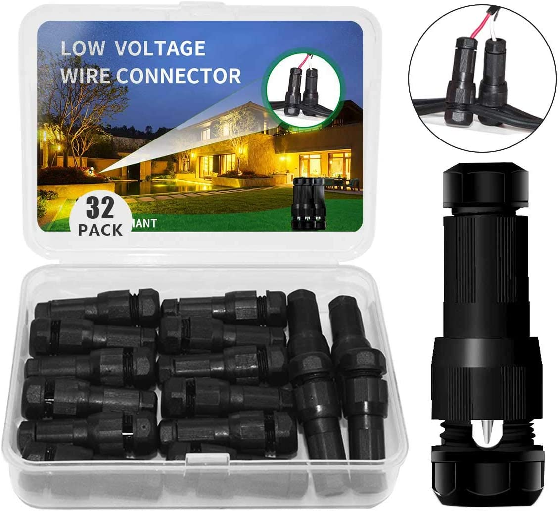 Hypergiant Fastlock Twist Low Voltage Wire Connector 32 Pack,Landscape Lighting Connector for 12-14 Gauge Cable,Outdoor Lights Connector for Garden,Path,Yard Lights Work with Malibu Paradise Moonray