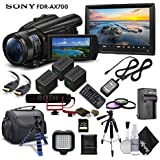 Sony Handycam FDR-AX700 4K HD Video Camera Camcorder + 2 Extra Batteries and Charger + 128GB Memory Card + Hard Case + Mic + Monitor and More - Professional Bundle