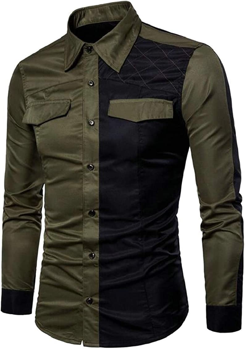 Hokny TD Mens Long Sleeve Casual Slim Fit Button Down Color Block Shirt