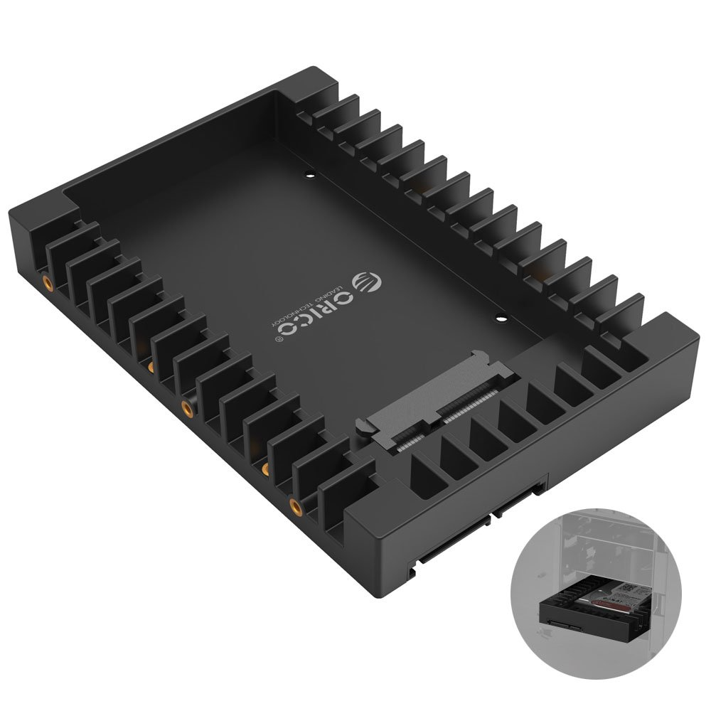 ORICO - 2.5 a 3.5 Pulgadas Convertidor Disco Duro Interno - Bandeja Estructural de Montaje para SATA HDD/SSD de 7 / 9.5 / 12.5mm ORICO Technologies Co. Ltd ORICO 1125SS-BK-EU