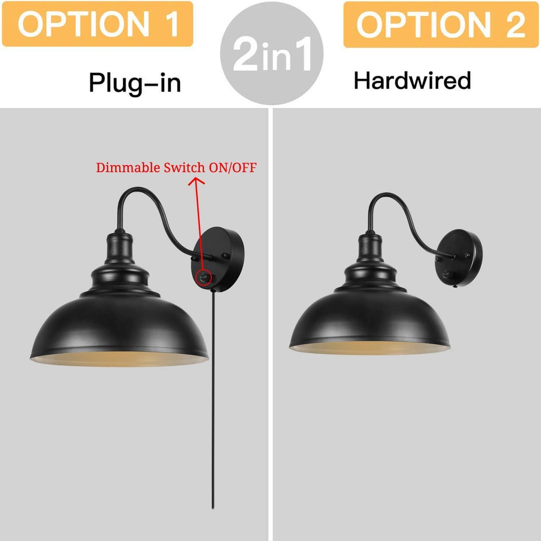 Dimmbare Wandleuchte mit Schalter und Stecker Schnur Wandmontage  Wandbeleuchtung E12 Leseleuchte Schwarz Wandlampe Industrie Vintage  Nachttischlampe