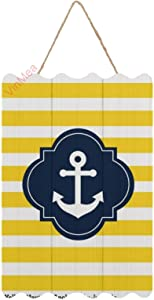 VinMea Hanging Wood Sign Blue White & Yellow Nautical Anchor Striped Wood Wall Art Decoration Plaque for Home Decor,Kitchen, Coffee, Restaurant, Garden, Office,8