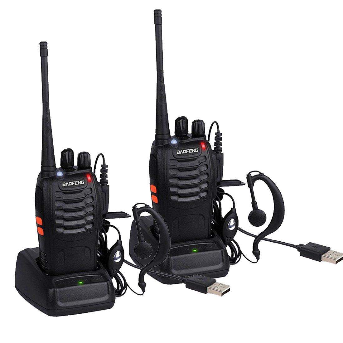 Walkie Talkie BF-888S, Sunreal Radios bidireccionales Transceptor FM de Banda ú nica UHF Micró fono Integrado con soplete LED para Adultos (2 par)