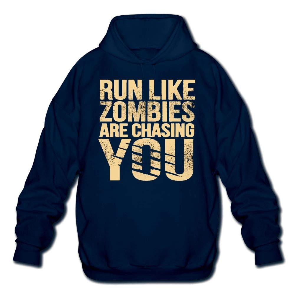Sweatshirt Mens Long Sleeve Cotton Hoodie Run Like Zombies are Chasing You