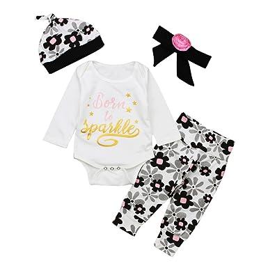 Coolbabe 0-24 Mois Bebe Fille Pyjamas 4 PCS Ensemble de Vetement   Body  Manche 57cd2b801df1