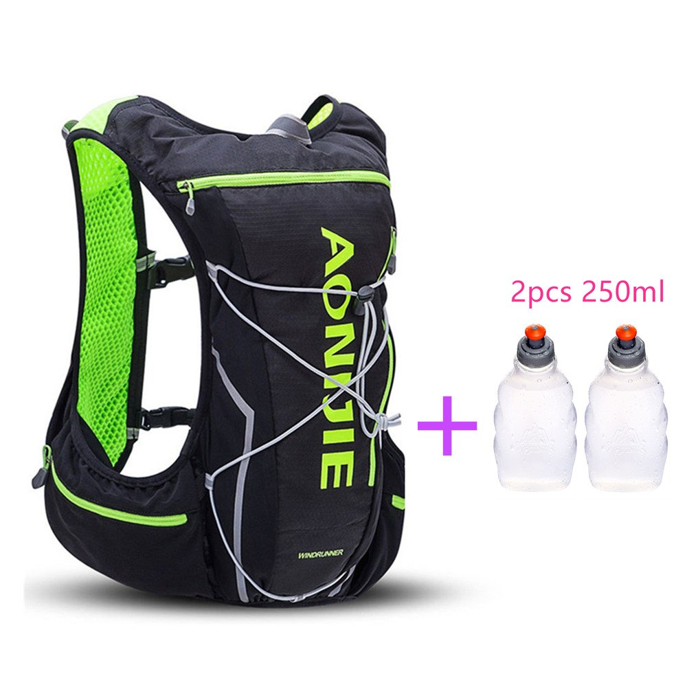 AONIJIE Trail Marathon Running Vest Pack 10L Sport Bag Hiking Camping Hydration Backpack Water Bottle Holder+Water Bottle(Optional),M/L,Black with 2 Water Bottles