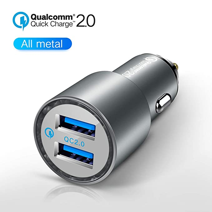 JDB 36W Cell Phone Car Charger, Qualcomm Quick Charge 2 0 Dual USB Fast Car  Charger for Samsung Galaxy, iPhone Xs/X / 8/7 / 6s / 6 / SE / 5S with a