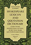 Shakespeare Lexicon and Quotation Dictionary (Volume II, N-Z), Alexander Schmidt, 0486227278