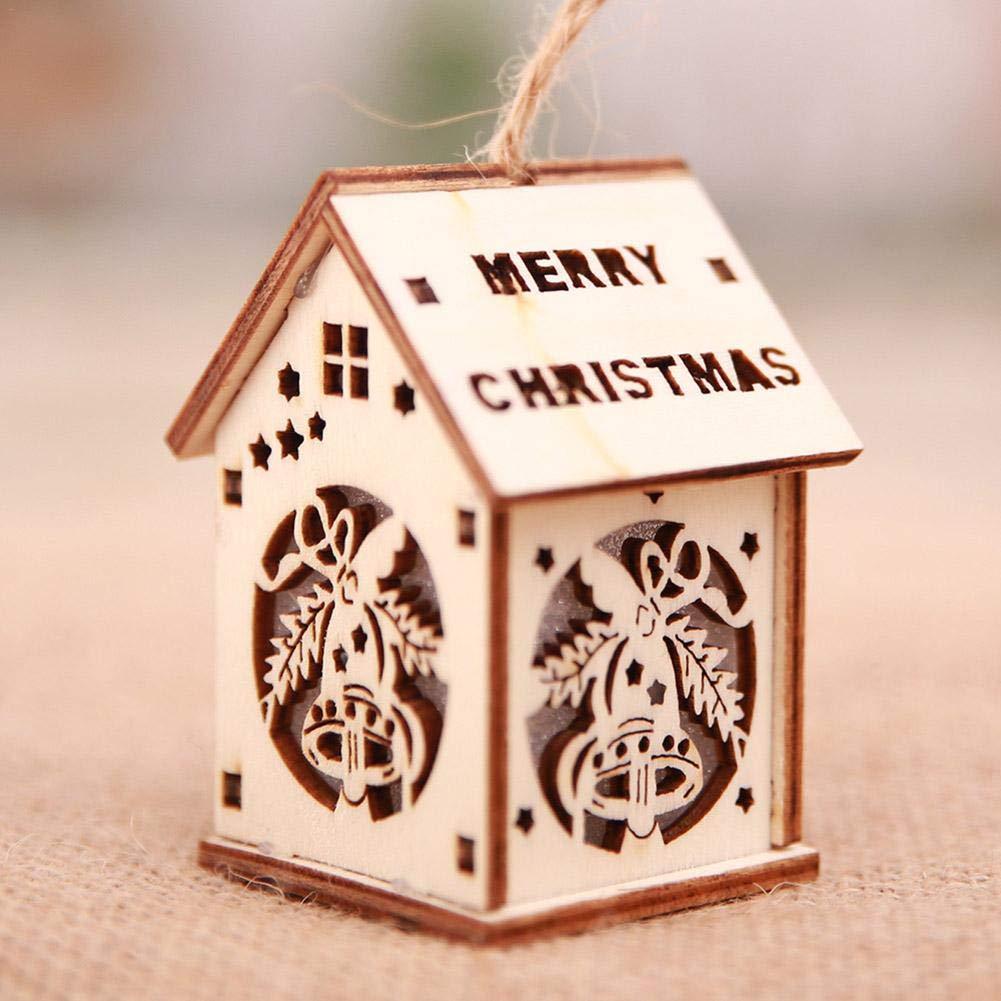 New Year Christmas LED luminoso cabine Pendant ornamenti natalizi da tavolo LED luminoso legno casa ciondolo albero di Natale Decorazioni per la casa decorazione per festa F