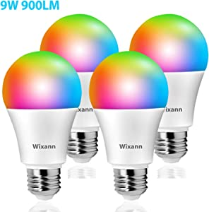 Wixann 9W Smart Light Bulb Compatible with Alexa & Google Home Assistant (No Hub Required) A19, E26, 80W Equivalent 900lm Dimmable RGBCW Color Changing LED Bulbs for Siri, 4 Pack