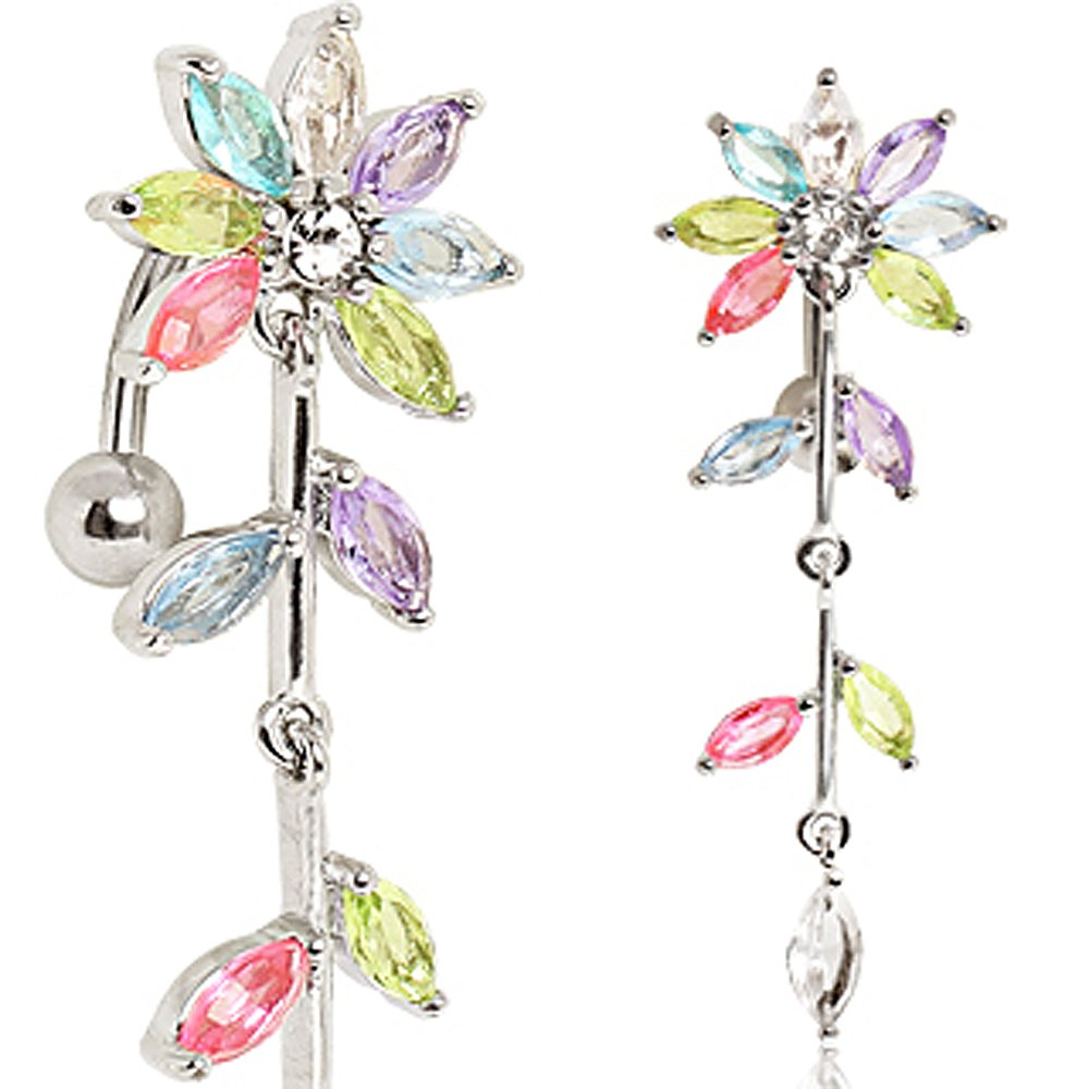 14GA Fuchsia L:3//8 316L Surgical Steel Multi-Jointed Flower Top Down Navel Ring Sold Individually