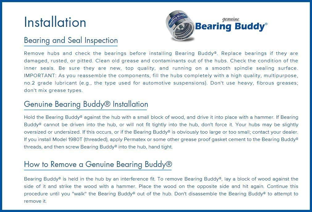 Bearing Buddy 1.980 Boat Trailer Genuine Stainless Steel with Protective Bra /& Auto Check Wheel Center Caps 1980A-SS 42204 3 Pairs
