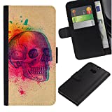 UPPERHAND ( Not For HTC ONE Mini 2) Stylish Image Picture Black Leather Bags Cover Flip Wallet Credit Card Slots TPU Holder Case For HTC One M8 - colorful explosion skull butterfly skull