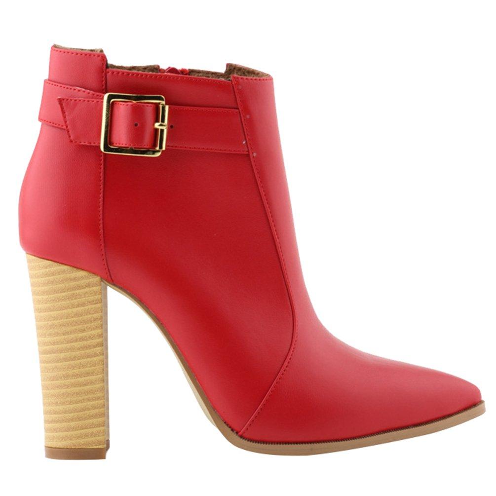 WanYang Frauen Boots High Heel Damen Stiefeletten Absatz Ankle Fruuml;hling und Herbst38 EU(Fu?l?nge:24CM/9.44? Rot