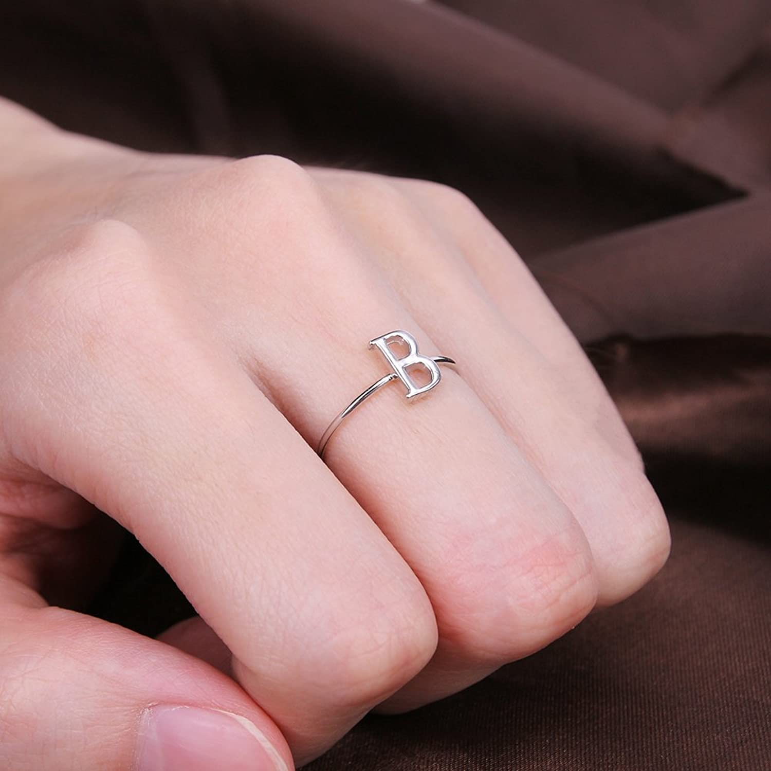 Amazon.com: AoedeJ Initial Rings Capital Letter B Ring 925 Sterling ...