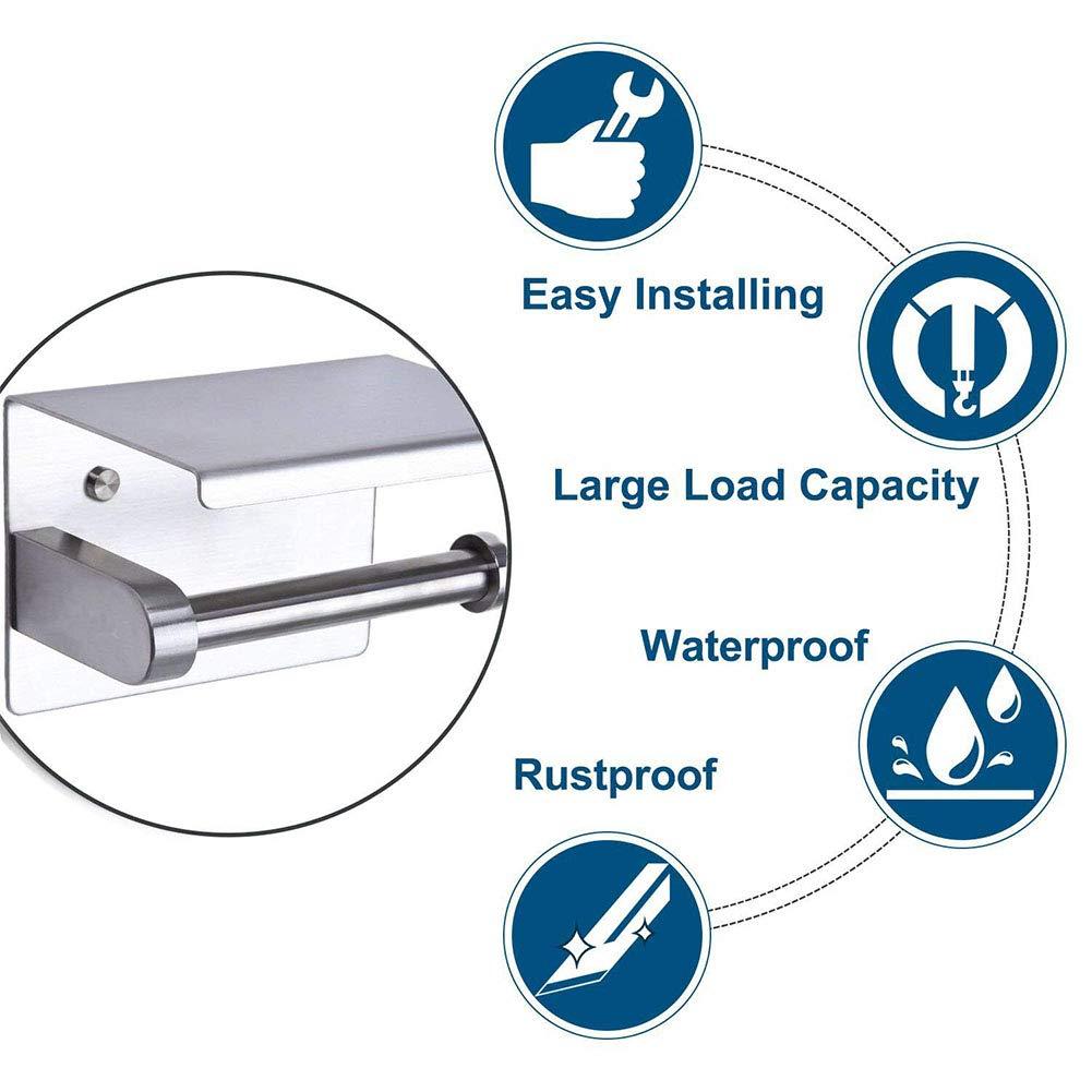 Supporto per rotolo di carta igienica a parete per cucina del bagno senza perforazione , con ripiano spazioso Supporto per carta igienica in acciaio inossidabile autoadesivo 3M