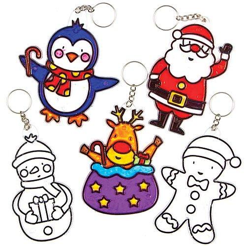 Baker Ross Lot de 5 vitraux porte-clefs de Noël