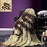 smallbeefly Japanese Dragon Digital Printing Blanket Antique Paper Style Grunge Backdrop with Old Asian Magical Figure Summer Quilt Comforter Brown Yellow Beige