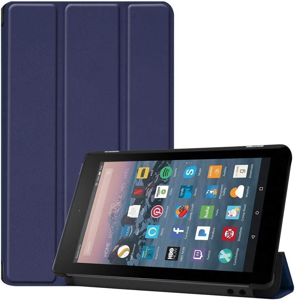 Dicomi Funda Plana para Kindle Fire 7 2019 2017 Cubierta magnética de Cuero con Tapa magnética(Azul Oscuro)