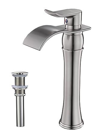 Aquafaucet Waterfall Spout Single Handle Bathroom Sink Vessel Faucet ...