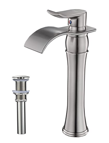 Astonishing Bwe Waterfall Spout Single Handle Commercial Bathroom Sink Vessel Faucet Mixer Tap Lavatory Faucets Tall Body Brushed Nickel Home Interior And Landscaping Mentranervesignezvosmurscom