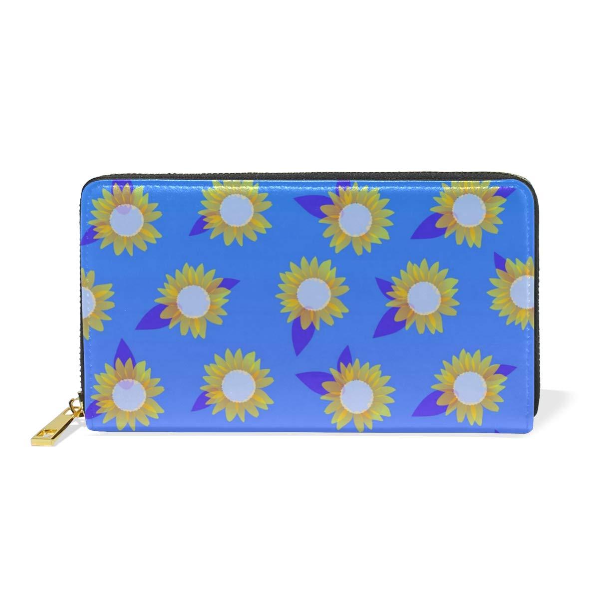 Women Genuine Leather Wallet bluee Sunflowers Zipper Purse Girl Phone Clutch