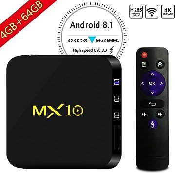 Android 8.1 TV Box, 4GB + 64GB LinStar MX10 Smart 4K TV Box RK3328 Octa Cora CPU WiFi Decodificadores 3D 4K Ultra HD TV con Control Remoto: Amazon.es: Electrónica