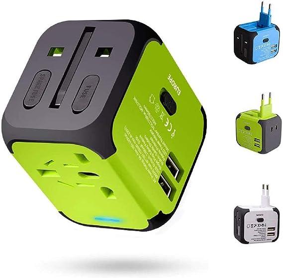 Adaptador Enchufe, Milool Cargador Enchufe USB, Adaptador de Viaje Universal con Dos Puertos USB Seguridad de Fusibles para Tableta PC,Smartphones Cámaras Digitales,Reproductores de MP3 para Navidad: Amazon.es: Electrónica