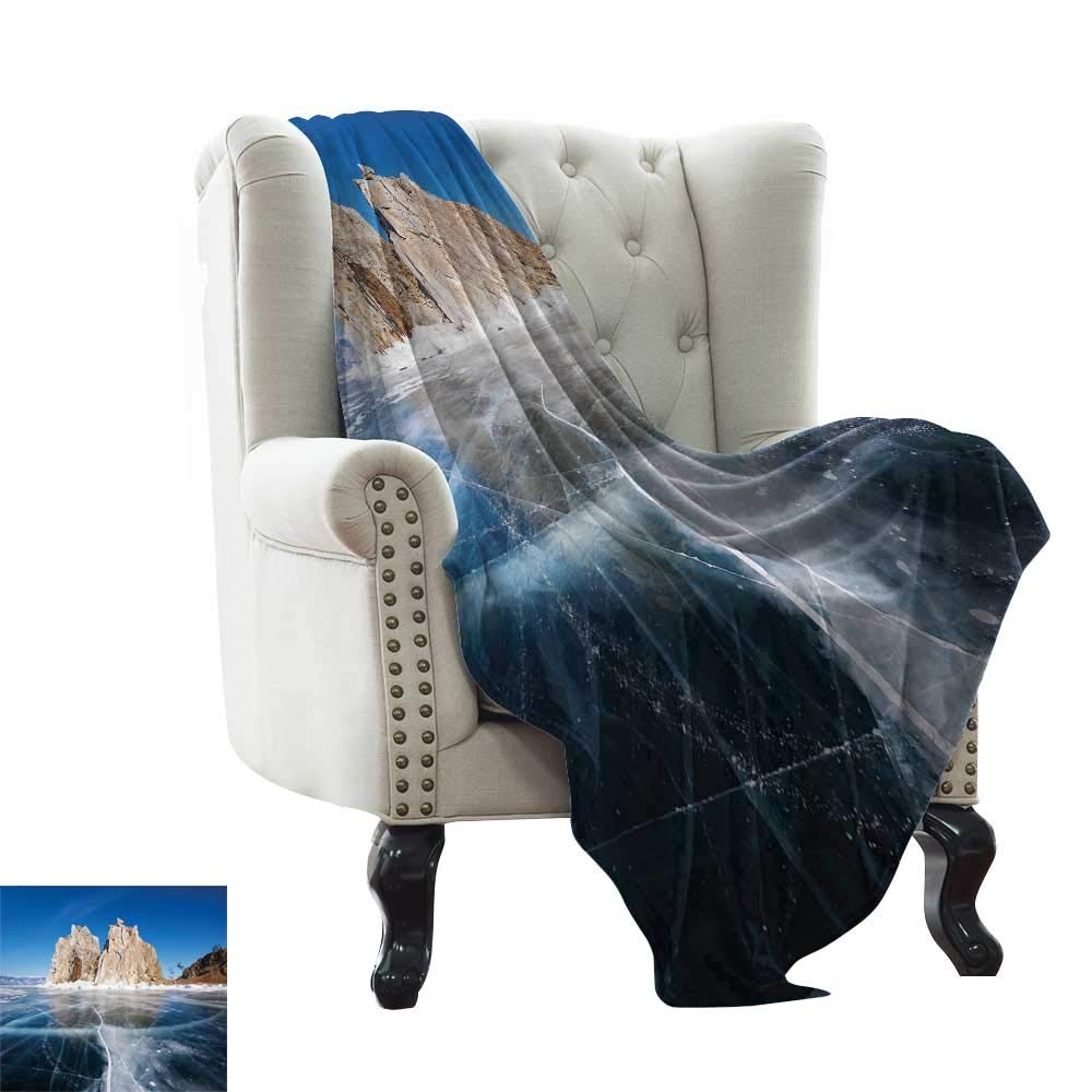 color01 50 x70  Inch BelleAckerman Flannel Throw Blanket Winter,Idyllic Image of Snow Season Outdoors Frozen Highlands Sunset in Cold Weather Print Lightweight Extra Soft Skin Fabric,Not Allergic 50 x60