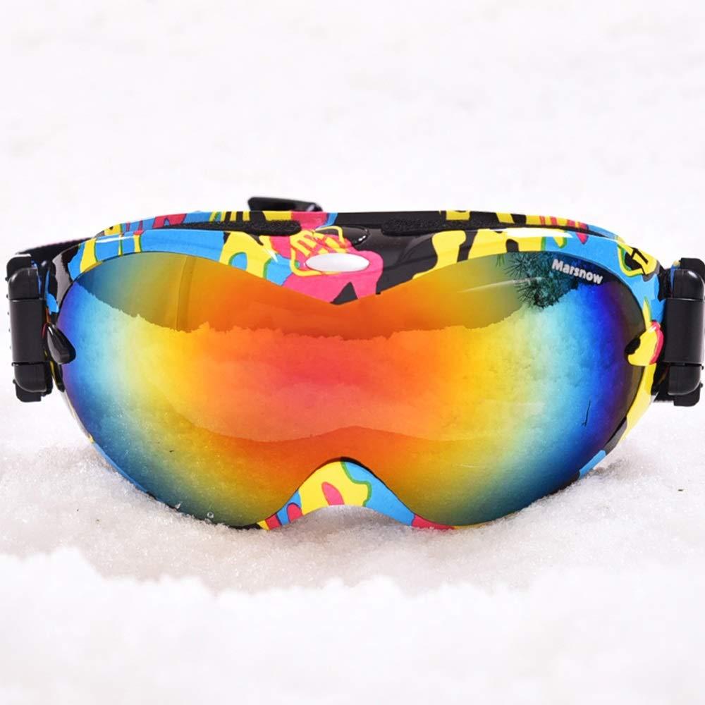 スキー用のゴーグル スキーゴーグル - 二重防曇剤は、近視眼鏡、紫外線保護、滑り止め調節可能なヘッドバンド、大人の一般的なプロスキーおよび登山球形コーティングされた眼鏡(10色が利用可能) (色 : Dazzling 黄) Dazzling 黄