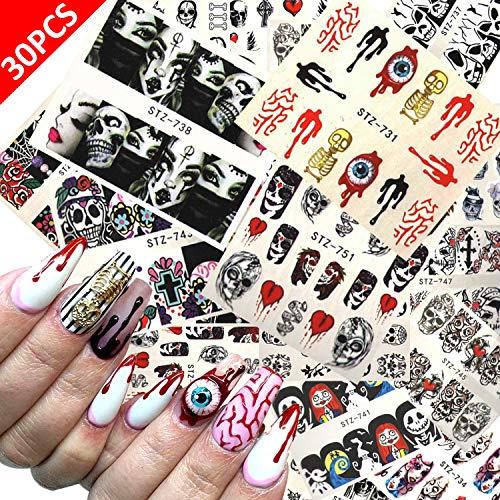 Finger Nail Art For Halloween (Alpurple 30 Sheet Halloween Waterslide Nail Decals-Grimace Skull Eye Water Transfer Nail Art Wrap Stickers for Halloween Party Supply Fingernails Toenails)