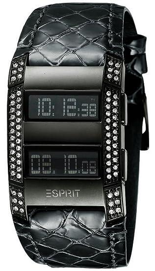 Esprit ES101242704 - Reloj digital de mujer de cuarzo con correa de piel negra (cronómetro, alarma) - sumergible a 30 metros: Amazon.es: Relojes