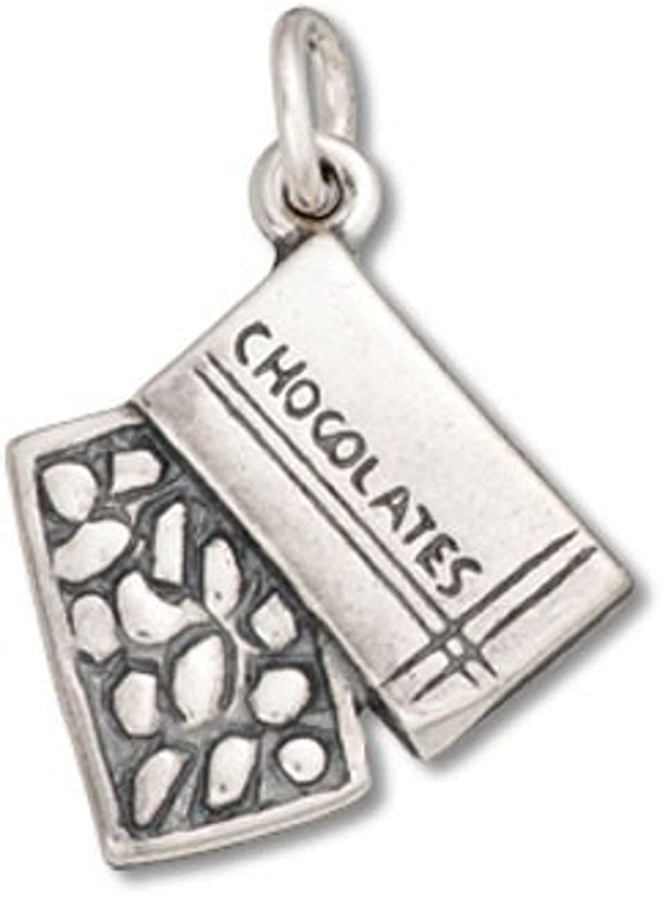 Sterling Silver 3D Open Box Of Chocolates Candy Charm