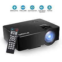 Joyhero Mini Projector, 2500 Lumens Portable E08 LED Home Projector Support 800 x 480 Pixels 1080P HD for Home Cinema Theater Entertainment PS4,Xbox HDMI/TF Card Slot/USB/VGA (Black)