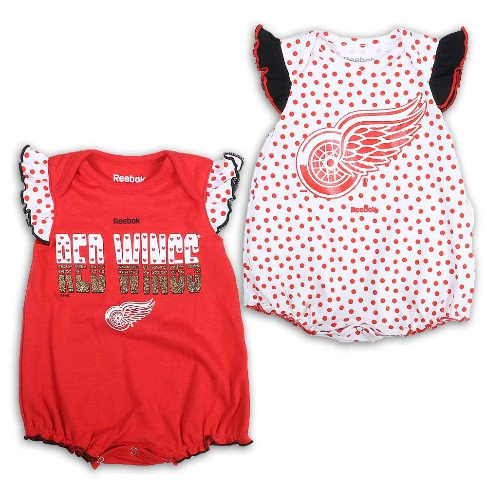 Detroit Red Wings Newborn/Infant Girl's 2016 Bodysuit Set, Red, Infant 24 Months by Detroit Athletic Co