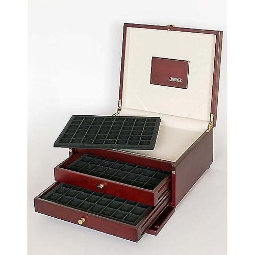 Boîte numismatique en bois avec 6 plateaux de pièces dans 2 curseurs [Lindner S2430], Format: 332 x 165 x 298 mm - Insert en velours : S2148CE (Pour 288 pièces / capsules de pièces jusqu'à 30