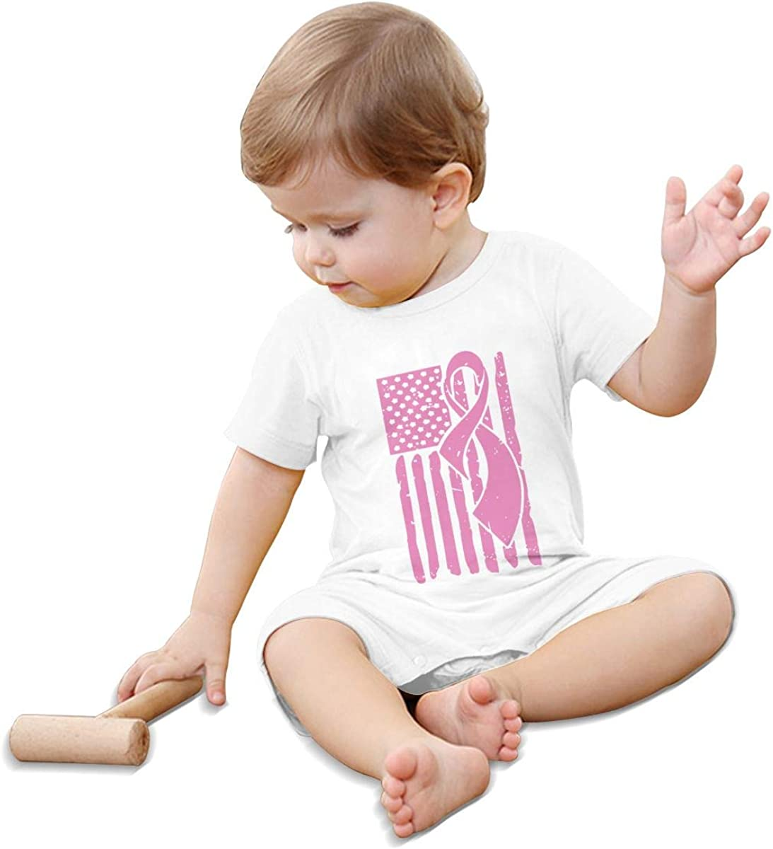 Mri-le1 Baby Boy Coverall Breast Cancer Awareness Ribbon American Flag Toddler Jumpsuit