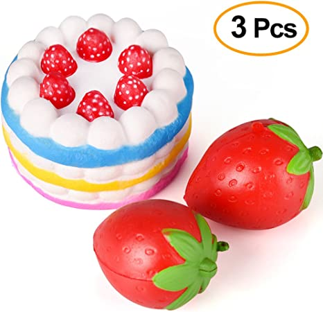 Anboor 4.33 Jumbo Slow Rising Kawaii Sweet Scented Strawberry Cake Squishy 1pc Color Random