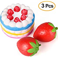 Kuuqa 3 Pcs Squishies Slow Rising Jumbo Rainbow Squishy Cake and Strawberry Fruit Charms Squishies Toys Stress Relief Toys Party Favors ( Colour Random)