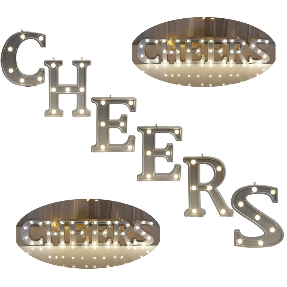 Amazon.com: Decorative Illuminated Marquee Word Sign CHEERS (Silver ...