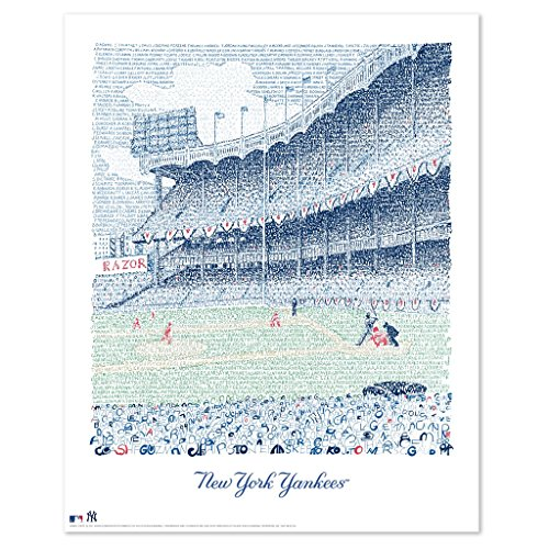 Yankee Stadium Word Art Poster - Handwritten All Time Roster - New York Yankees Artwork - Dorm Decor - Yankees Wall Art - New York Yankees ()
